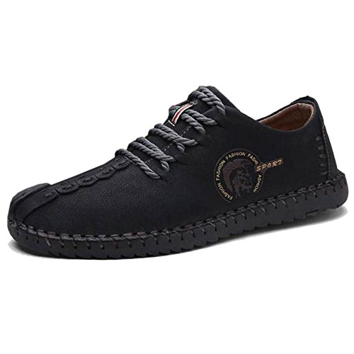 COOLCEPT Herren Bequeme Slip On Freizeit Flach Loafers Schuhe 23 Black