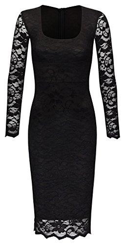 JU FASHION - Robe - Crayon - Uni - Manches Longues - Femme Noir - Noir