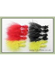 Trucha moscas, señuelos, 12cactus cuello oro Bead Fritz, tres colores, tamaño 10