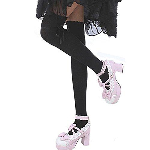 Damen Mädchen Herbst Socken Strümpfe Strumpfhosen über Knie (Schwarz)