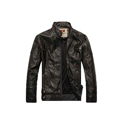 Babysbreath Mens Motorrad Jacke Casual Washed Leder Reißverschluss Stand Collar Langarm Wintermantel Schwarz XL