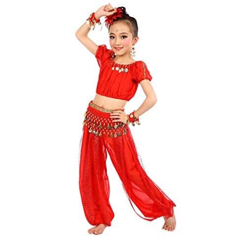 Bekleidung Longra Kinder Mädchen Tanzkostüme Bauchtanz Karneval Kostüm Set Kinder Bauchtanz Ägypten Tanz Tuch Chiffon Tops +Hosen Tanzkleidung für Kinder Mädchen (140CM, Red)