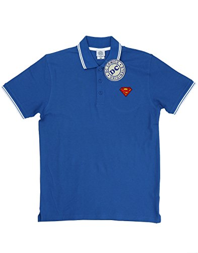 DC Comics Herren Superman Logo gespitzte Polo Königsblau / Weiß