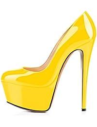 EDEFS Mary Jane Femme Compensées Escarpins Bloc Talon Confort Chaussures Pointure Yellow Taille 35