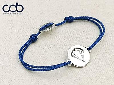 """Bracelet cordon tressé""""Parapente/parachute"""" ø18mm finition argent 925"""