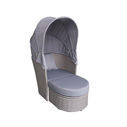 Greemotion Bain de soleil avec pare soleil Brazilia – Bain de soleil en résine tressée gris – Fauteuil extérieur confortable et modulable avec ombrelle pliante – fauteuil moderne avec capote anti UV