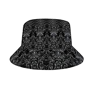 Sun Hat for Men/Women,Outdoor Packable Travel Bucket Cap Hats for Safari Fishing Hiking Beach Golf-Black Ghost Shadow Blur Damask Illusion