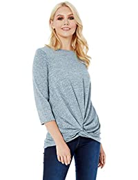 23e223b03a8ee Roman Originals Women Jersey Knot Front Top - Ladies Autumn Winter Everyday  Stretch Top Classic Round