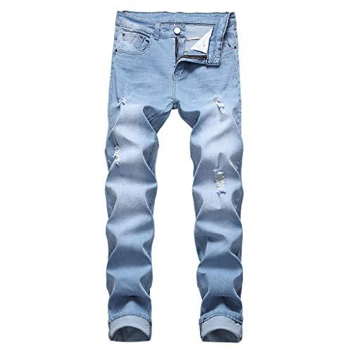 Jeans Slim Fashion Strappato Fori Dritti Biker Hip Hop Elastico strappato Jeans Skinny Strappati Pantaloni Jeans Denim Slim Fit con Zip (30,12- Cielo Blu)