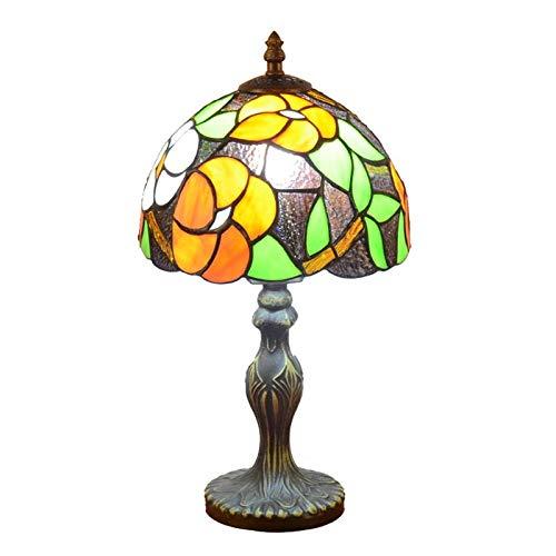 QCKDQ 8 Zoll Schreibtisch Licht, Tiffany Stil Tischlampe Mit Blütenblatt Und Online Schalter Glasmalerei, Schlafzimmer Nachttisch Schreibtisch Kleine Tischleuchte Dekorative E27