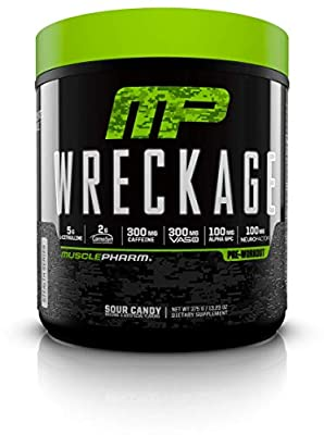 MusclePharm Wreckage Pre-Workout Powder with Superior Focus, Extreme Energy and Sustained Pump - Nitric Oxide, Beta Alanine, and Caffeine, Sour Candy, 25 Servings (Sour Candy) from MusclePharm