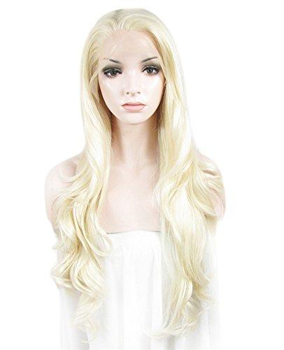 Imstyle® lumineux Eau de Javel Blond Dentelle des Perruques longue Loose ondulée Texture synthétique Lace Front Perruque 66 cm de long
