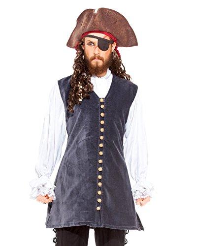 ThePirateDressing Pirat Mittelalter Renaissance Captain Brücke Weste Jacke Kostüm [c1426] Gr. XX-Large, grau