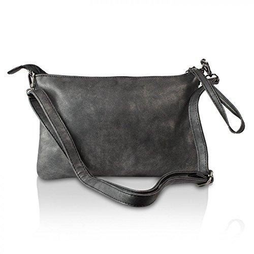 Gloop Top Fashion Sterne Handtasche Schultasche Canvas KunstLeder Trend Tragetasche TS201701 23199 Schwarz