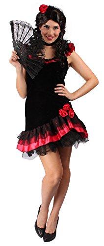 (Sexy Flamenco-Kleid für Erwachsene in Schwarz-Rot | Größe: 40-42 | spanische Tänzerin Kleid mit Carmen Ausschnitt | Flamenco-Kleid für Karneval, Fasching & Motto-Partys | Spanierin-Verkleidung)