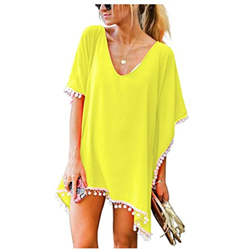 Donne Chiffon Nappa Costume da Bagno Abito da Spiaggia Vestito Scollo Profondo Copricostumi e parei Bikini Beach Cover up Casual Vestiti con Frange Mare Pareo Tunica Beachwear Allentato – Landove Giallo