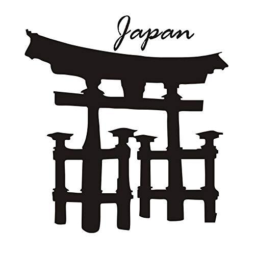 Arquitectura religiosa Torii Gate Tatuajes de Pared de Vinilo Extraíble Pegatinas de Pared Japonesa Sala de estar Decoración para el hogar 58x62 cm