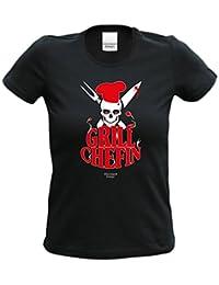 T-Shirt Frauen grillen Geschenkidee Geburtstagsgeschenk Motiv Grillchefin Küche, Party, Garten, Muttertag Farbe: schwarz