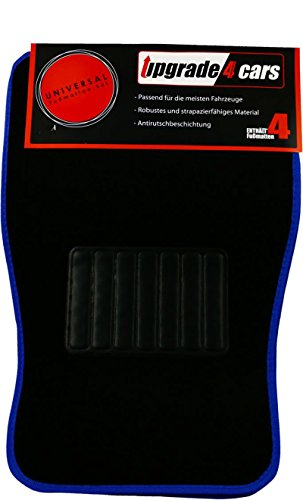 Auto-Fußmatten Universal Blau | Velour Auto-Teppich Set 4-teilig | Rutschfest & Widerstandsfähig | Vorne 70 x 46 cm - Hinten 35 x 46 cm