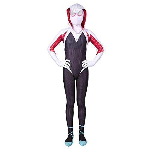 Kind Erwachsener Gwen Stacy Spiderman Kostüm Cosplay Superhelden Halloween Onesies Mottoparty Karneval 3D Druck Spandex Strumpfhosen,Child-M