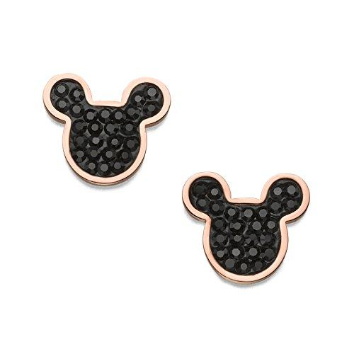 Pendientes para mujer joyas Disney acero PVD rosa Swarovski Mickey Neri Lucidi