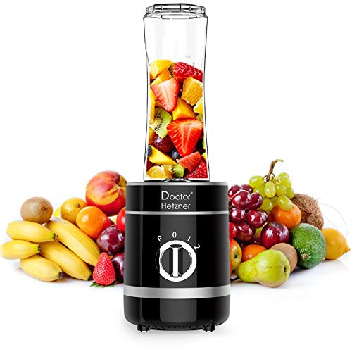 Doctor Hetzner Mini Frullatore, Frullatore per Smoothie, Frullatore Portatile 4 Lame in Acciaio Inox, con tazza da 600 ml, Frullatore per Frutta e Verdura, Senza BPA, 300W (nero)