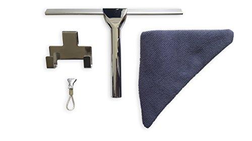 Antikalkblitz Dusch-Abzieher Fenster-Abzieher Wasser-Abzieher aus Edelstahl mit Halterung und Pflegetuch | Badezimmer Zubehör Ohne zu Bohren | Weiche Gummi-Lippe wechselbar