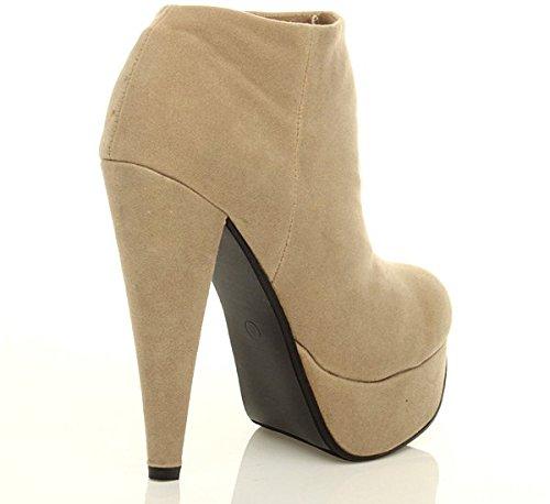 Damen Hohen Absatz Plateau Kontrast Knöchelschuhstiefel Stiefeletten Größe Beige