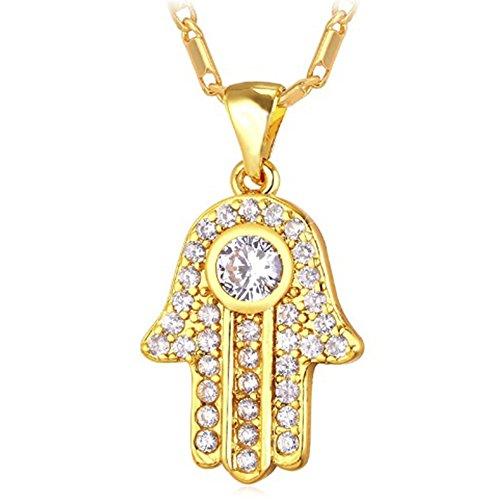MESE London Collar Mano De Fátima Con Diamante Redondo Cadena Bañada En Oro 18K Colgante Amuleto - Elegante Caja De Regalo