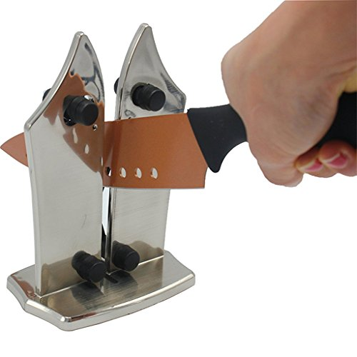 Küche Messerschärfer, Profi-Küche Messerschärfer Stahl Mit Zwei Verstellbaren Kanten Für Gezackte Und Gerade Messer, Schärft Stumpfe Messer Schnell, Sicher Und Einfach Zu Bedienen
