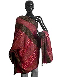 DollsofIndia Embroidered Maroon Woolen Shawl - 40 x 83 inches (NO97)