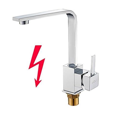 Auralum® Chrom Niederdruck Küche Armatur Küchenarmatur Kupfer Wasserhahn für Warm-Kaltwasser mit drei