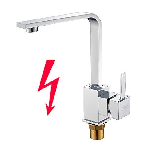 Preisvergleich Produktbild Auralum® Chrom Niederdruck Küche Armatur Küchenarmatur Kupfer Wasserhahn für Warm-Kaltwasser mit drei Anschluss-Schläuche