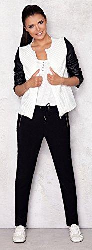 Capri Moda – Damen Reißverschluss Jacke Gesteppt Design Kunstlederärmeln – A110 - 4