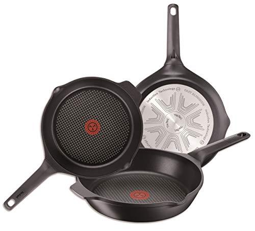 Tefal Aroma - Set de 3 sartenes de aluminio de 22, 24 y 26 cm, con antiadherente para todo tipo de cocinas incluido inducción
