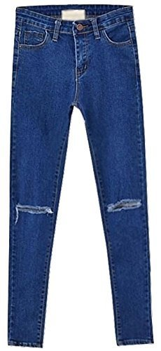 Damen Frauen hohe Taille Skinny Slim Jeans Ripped Cut Out Hose Mehrfarbig - Blau