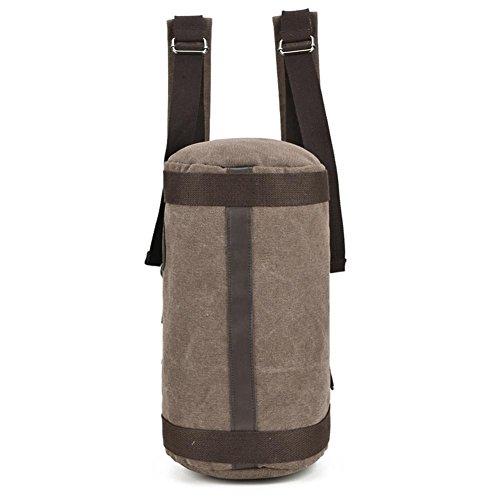OOLIFENG Retro Segeltuchrucksack Schulter Umhängetasche Reisetasche mit großer Kapazität Kompass Brown