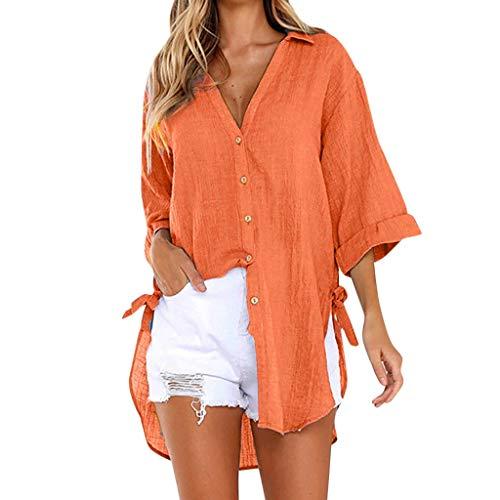 Yvelands Damen Bluse lose Knopf-langes Hemd-Kleid-Baumwolldamen-beiläufiges Oberseiten T-Shirt(Orange,XXXL)
