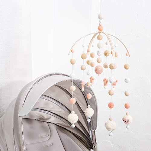 let\'s make Baby Mobile Dekoration Neugeborenes Geschenk für Mädchen Filz Schafbälle Krone Perlen Hölzernes Windspiel im Nordischen Stil