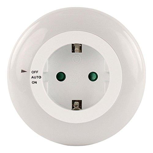 Preisvergleich Produktbild HyCell Orbit 1 LED-Nachtlicht mit Dämmerungssensor und An- / Aus-Schalter + integrierte Steckdose Orientierungslicht für Kinder Baby Senioren Nachtlampe für Kinderzimmer und Schlafzimmer (stromsparende LED) 3 Modi: An,  Aus und Automatikbetrieb mit Helligkeitssensor