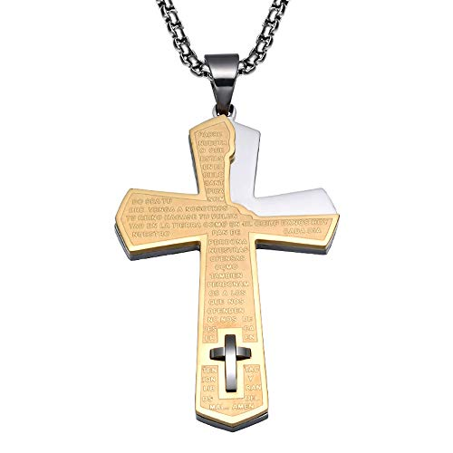 Necklace Cross Stainless Steel Mosaic Titanium Letter Pendant (Chain + Pendant) Combination Of 2 Ways To Wear Men's Gold Steel Color Silver,Gold