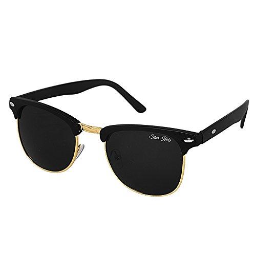 Silver Kartz Black Matt Clubmaster Wayfarer Sunglasses (wc035)