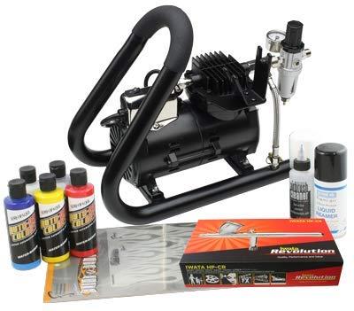 Iwata Custom Graphics Airbrush Kit mit Smart Jet Plus Tank Kompressor -