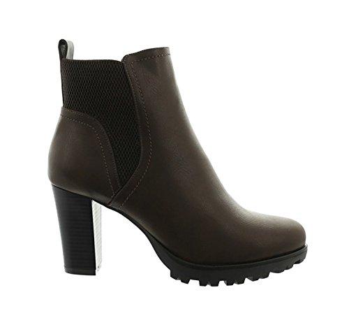 Damen Stiefeletten Ankle Boots Plateau Stiefel Schuhe 74 (41, Braun)