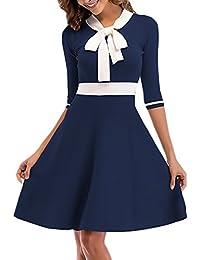 Abiti Da Cerimonia Donna Eleganti Corti Vestiti Anni 50 Linea Ad A Vintage  Moda Abbigliamento Dresses Manica A 3 4 Bowknot A Maglia… 85ab80edaa6
