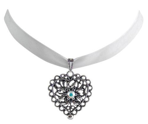 Trachtenschmuck Dirndl Herz mit Edelweiss Kropfband Samt - weiß - Swarovski Elements Kristall - Farbe wählbar