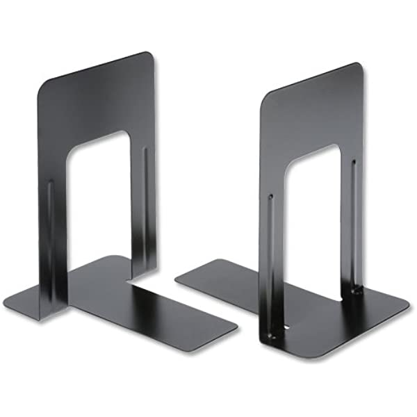 H//Duty Metal Bookends 140mm Black Pk2