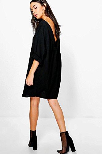 Damen Schwarz Sade Schulterfreies Hemdkleid Mit V-ausschnitt Schwarz