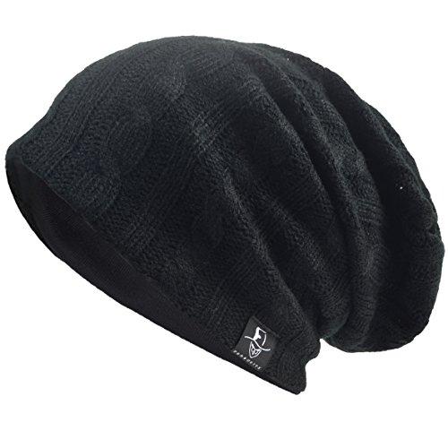 VECRY Herren Slouchy Stricken Übergroße Beanie Skull Caps Künstlerische Hüte (Kabel-Schwarz) 12 Zoll Kabel