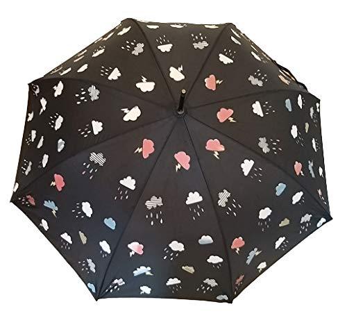 Goods4good Paraguas que cambia de color con la lluvia/ agua, para adultos, mujer, hombre, de apertura automática, largo, con un diámetro de 105 cm. Resistente al viento y diseñado en España.